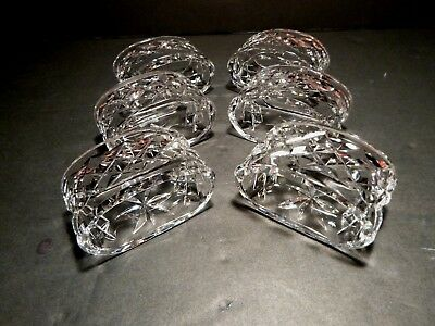 """*VINTAGE* Waterford Crystal ALANA (1952-) Set of 6 Oval Napkin Rings 2 5/8"""""""