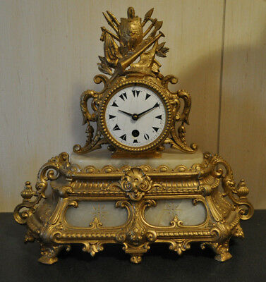 Antique Spelter French Gilt Marble Clock