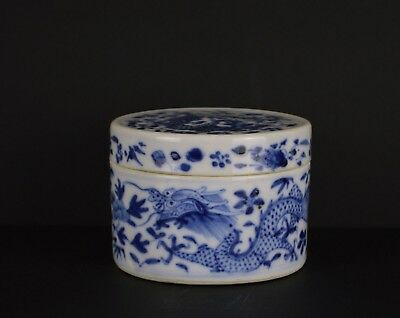 A Very Fine Chinese 19Th Century Blue & White Porcelain Lidded Pot With Dragons