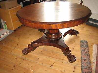 Antique Victorian Circular Extending Dining Table Ball And Claw Feet