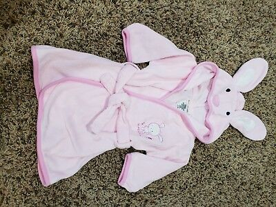Infant girls bathrobe baby 0 to 9 months bunny hooded pink
