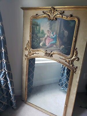 Antique Louis XV French Trumeau Ornate Gilded Mirror Oil Painting 60 x 36