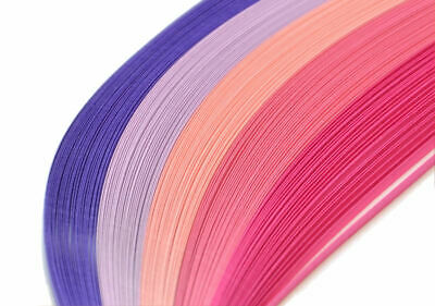 125 quilling paper strips in shades of pink and purple 3mm and 5mm wide 125gsm