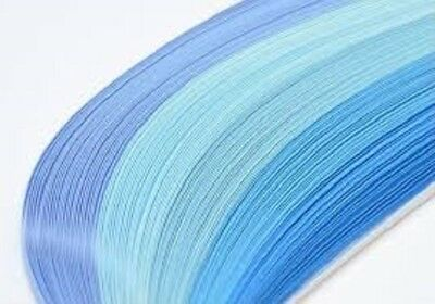 125 quilling paper strips in shades of blue - 3mm and 5mm wide and 125gsm