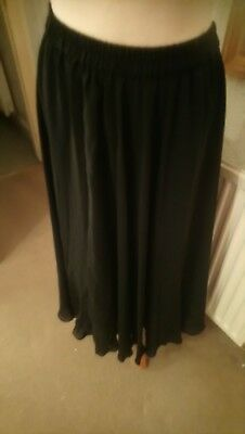 Essence Black ankle length evening skirt lined very full size 12 used