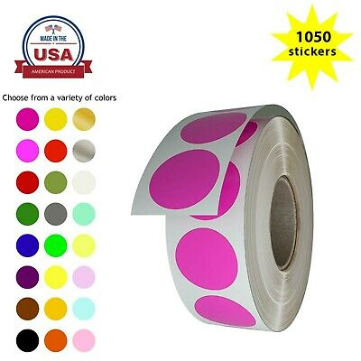 """Color Sticker Labels in Rolls 19mm 3/4"""" Circle Rolls Writable Surface 1050 Pack"""