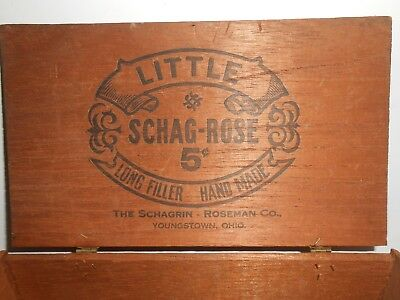 Vintage/ Antique  Wood Cigar Box LITTLE SCHAG - ROSE 5c  Regional Youngstown OH