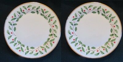 2 Lenox China Holiday Dimension Holly Dinner Plates- Mint!