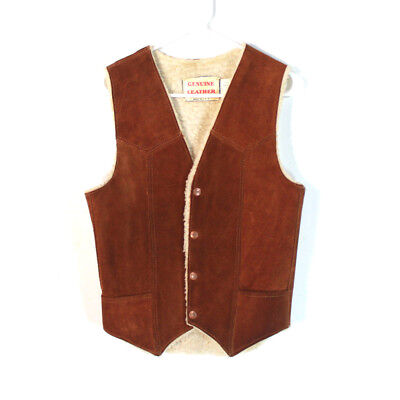 Vintage Men's Brown Leather Suede Sherpa Lined Vest S Made in the USA