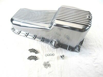 1986-02 SBC Chevy 350 Aluminum Finned Oil Pan Pass Side 1PC RM Polished BPE-6003