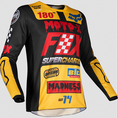 Fox Racing Boys Girls Youth Yellow Blk 180 Czar Offroad Jersey Dirt Mx S M L Xl