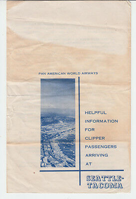 1955 Seattle-Tacoma Information Travel Brochure By Pan American Airlines