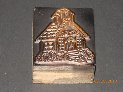 Antique Copper Print Block - School House