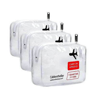 Cableinthebay TSA Approved Clear Travel Toiletry Bag(3PACK)|Quart Sized Zippe...