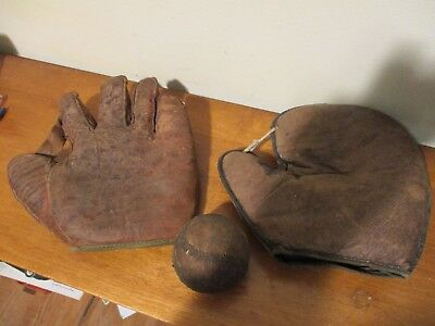 "2 antique BASEBALL GLOVE  gloves w/ ""matching"" BASEBALL  Ca. 1908   Reach"