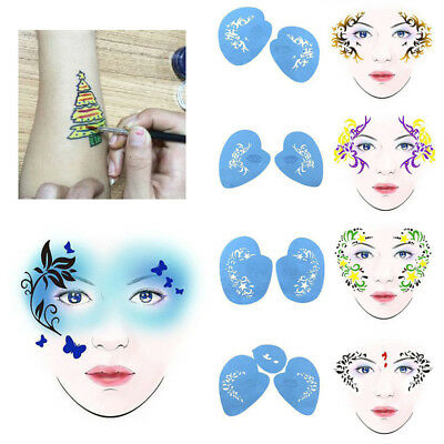 DIY Reusable Face Paint Body Art Stencil Template for Xmas Festival Stage Makeup