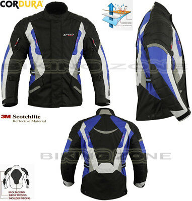 Blue / Black Mens Heavy Duty Ce Winter Motorbike Motorcycle Textile Jacket Coat