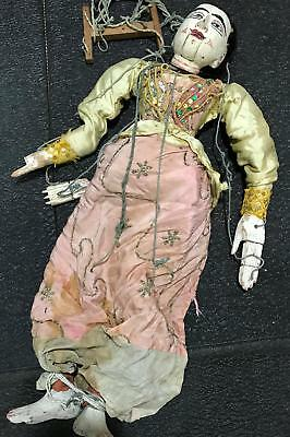 Antique Carved Wood Oriental Burmese Marionette Jointed Puppet Theatre Doll #78