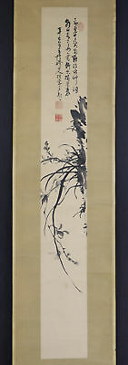 "JAPANESE HANGING SCROLL ART Painting ""Oridhid"" Asian antique  #E4764"