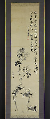 "JAPANESE HANGING SCROLL ART Painting ""Flowers"" Asian antique  #E4759"
