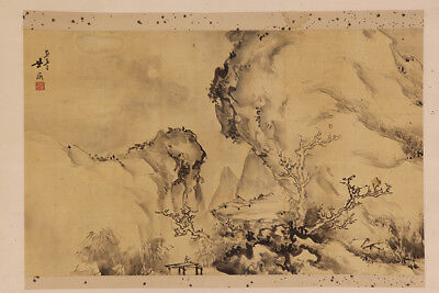 JAPANESE HANGING SCROLL ART Painting Sansui Landscape Asian antique  #E4768