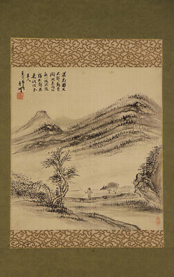 JAPANESE HANGING SCROLL ART Painting Scenery Asian antique  #E4763