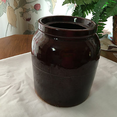 "Vintage Brown Stoneware Pottery Crock 6-1/2"" Tall No Cracks"