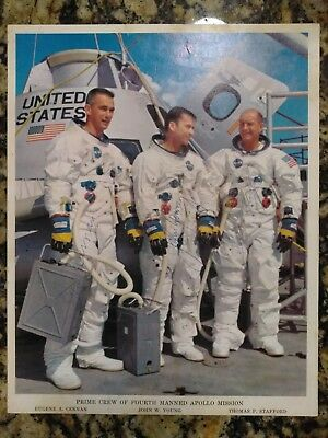 """Apollo 10 Prime Crew Autographeds Hand Signed 8"""" X 10"""" Photo  4th Manned Mission"""