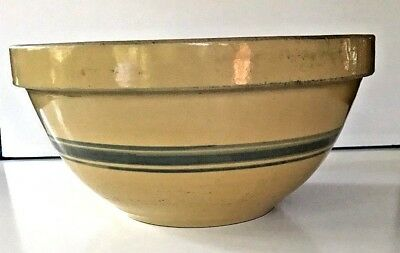 Vintage Large YELLOW WARE 12 INCH MIXING BOWL 3 Blue Stripes
