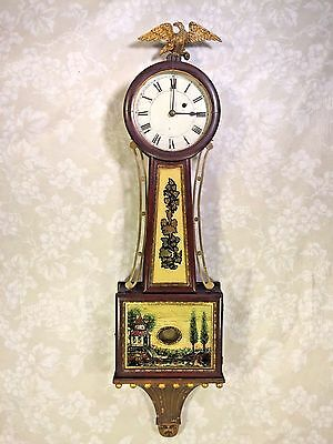 "Time Only Banjo Clock Marked ""AGH"" on Back Plate Beaded & Cannonball Trim Runs!"