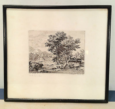 Abraham Genoels Engraving of Landscape Bridge Boat Framed and Matted