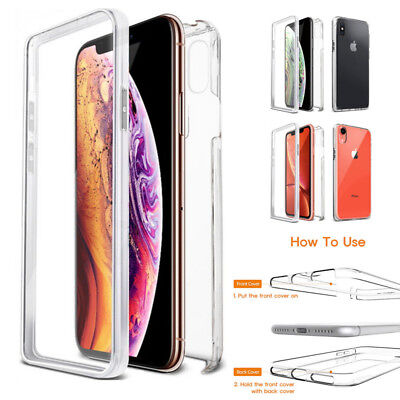 For iPhone XR XS Max X 8 Clear Hybird Screen Protector 360 Full Body Case Cover