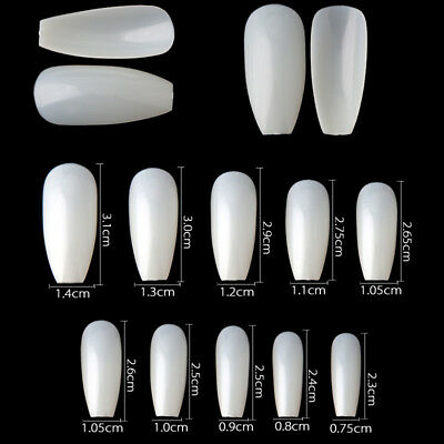 600Pcs Long Ballerina Coffin Shape Full Cover False Fake Nails DIY Art Decor HUS