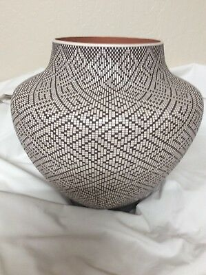 "Frederica Antonio Acoma coiled pottery 9.5"" tall 10"" wide dazzler signed perfect"