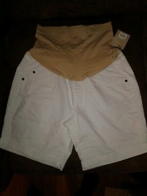 Maternity a:glow Size 16 White Belly Panel Bermuda Jean Shorts $44