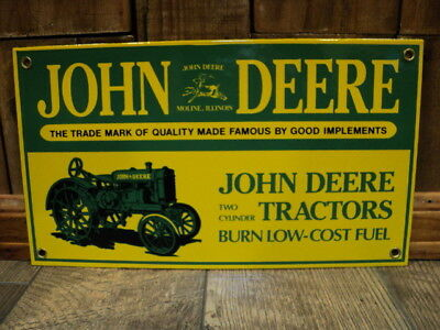John Deere Tractors Porcelain Sign With Original Box - Farm Feed Seed