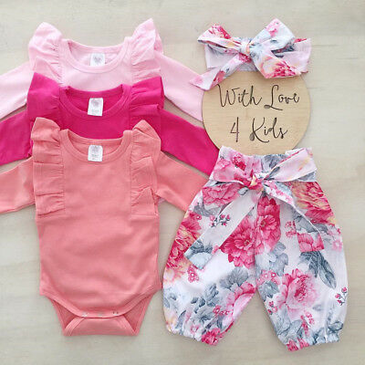 3PCS Newborn Baby Girls Tops Romper Floral Pants Headband Outfits Set Clothes AU