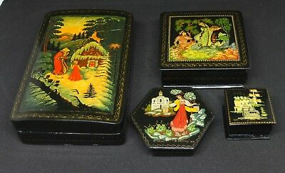 Vintage Russian Lacquer Box Hand Painted Signed Set of 4
