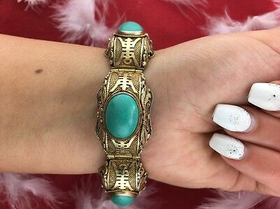 Vintage Chinese Gold Over Sterling Silver Filigree Turquoise Bracelet