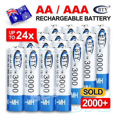 4-24X BTY AAA Rechargeable Battery Recharge Batteries 1.2V 1000mAh Ni-MH OZ