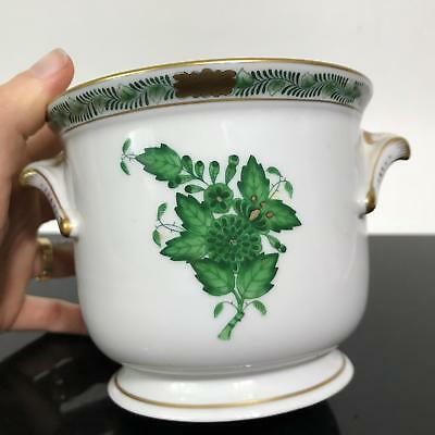 Vtg HEREND Hungary Green Chinese Bouquet Floral Porcelain Bowl Cache Pot