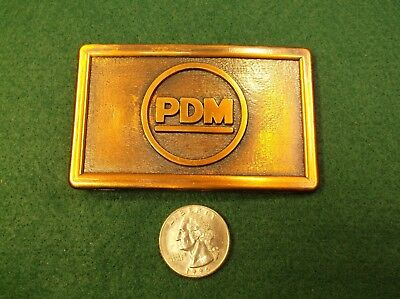 "Mint Cond Vtg Nos Copper Toned Company Employee Type Belt Buckle With ""Pdm"" Logo"