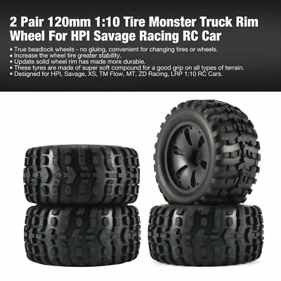 2 Pair 120mm 1:10 Tire Monster Truck Rim Wheel For HPI/ Savage Racing RC Car RCT