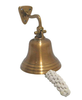 """4"""" Brass Ship Bell Nautical Decor Gold Hanging Rope Pull"""