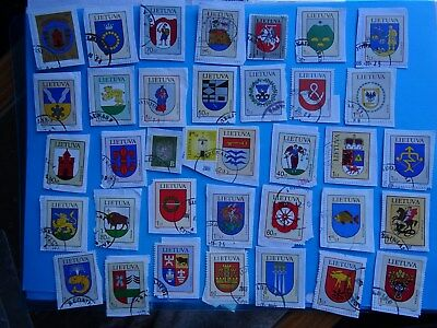 COATS of ARMS of Lithuania - Lituania Lituanie Litauen - used stamps on paper