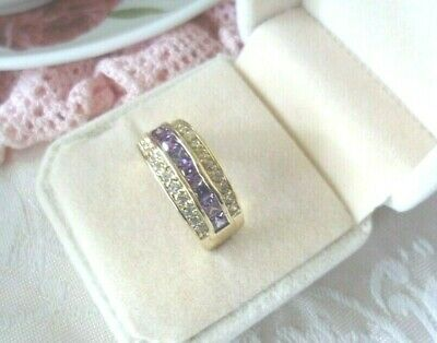 Vintage Art Deco Jewellery Gold Ring Amethyst White Sapphires Antique Jewelry