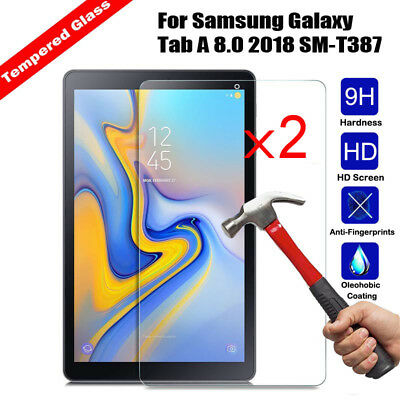 2Pcs Tempered Glass Screen Protector For Samsung Galaxy Tab A 8.0 2018 SM-T387