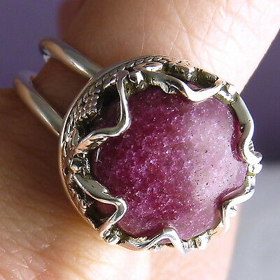 GRANULATION CROWN Size US 8 SILVERSARI Ring Solid 925 Stg Silver + INDIAN RUBY