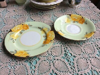 Aynsley Fine Bone China Part Trio Rose Saucer Plate B5136 /2 Mint Yellow Roses