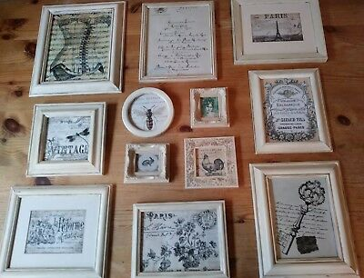 A Feature Wall Collection of  VINTAGE SHABBY CHIC HAND PAINTED PICTURE FRAMES
